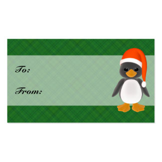 Green Plaid Penguin Holiday Gift Tags Business Card
