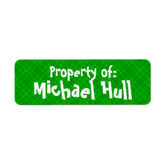 "Green Plaid ""Property of:"" Label Return Address Label"