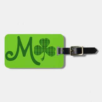 Green Plaid Shamrock Luggage Tag