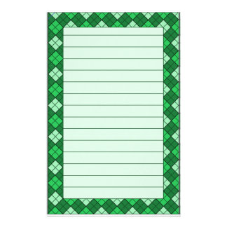 Green Plaid Stationery Lined
