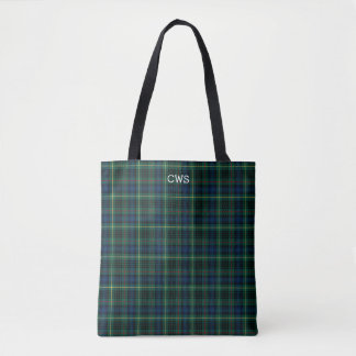 Green Plaid Stewart Hunting Tartan Monogram Tote Bag