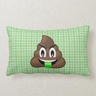 Green Plaid Tongue Poop Emoji Pillow
