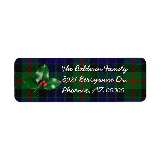 Green Plaid with Holly Address Labels