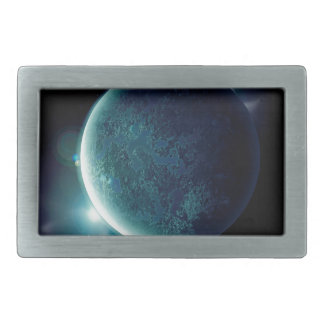 green planet in the universe with aura and stars belt buckle