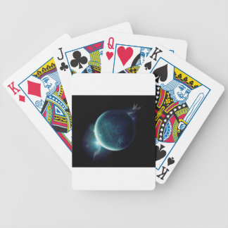 green planet in the universe with aura and stars bicycle playing cards