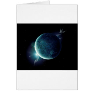 green planet in the universe with aura and stars card
