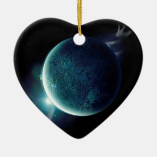 green planet in the universe with aura and stars ceramic ornament
