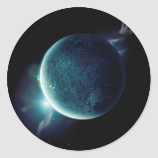 green planet in the universe with aura and stars classic round sticker
