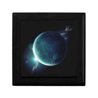 green planet in the universe with aura and stars gift box