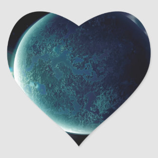 green planet in the universe with aura and stars heart sticker