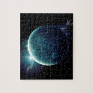 green planet in the universe with aura and stars jigsaw puzzle