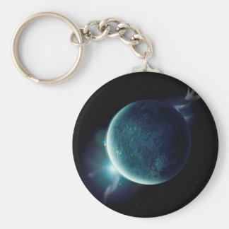green planet in the universe with aura and stars keychain