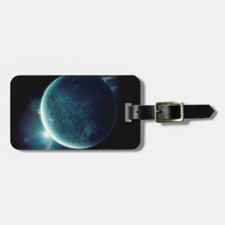 green planet in the universe with aura and stars luggage tag