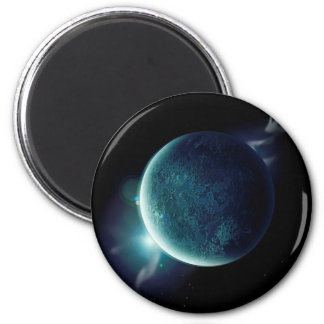 green planet in the universe with aura and stars magnet