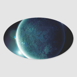 green planet in the universe with aura and stars oval sticker