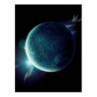 green planet in the universe with aura and stars postcard