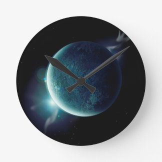 green planet in the universe with aura and stars round clock