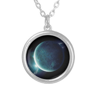 green planet in the universe with aura and stars silver plated necklace