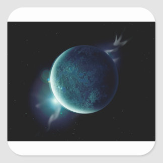 green planet in the universe with aura and stars square sticker