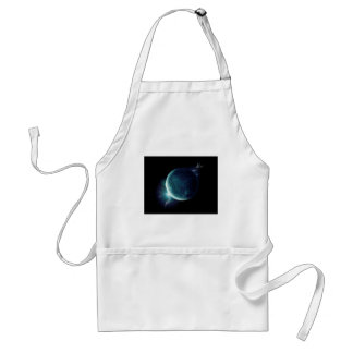 green planet in the universe with aura and stars standard apron