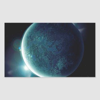 green planet in the universe with aura and stars sticker