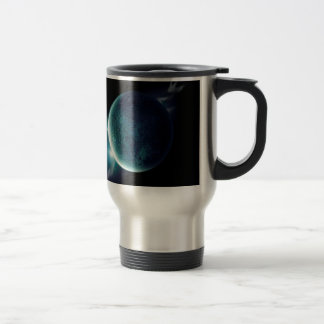 green planet in the universe with aura and stars travel mug