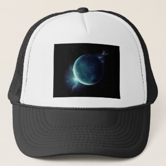 green planet in the universe with aura and stars trucker hat