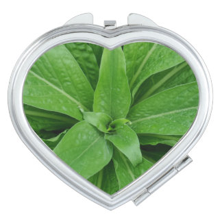 Green Plant  Heart Compact Mirror