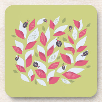 Green Plant With Pink Leaves And Ladybugs Spring Coaster