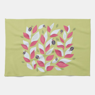 Green Plant With Pink Leaves And Ladybugs Spring Kitchen Towel