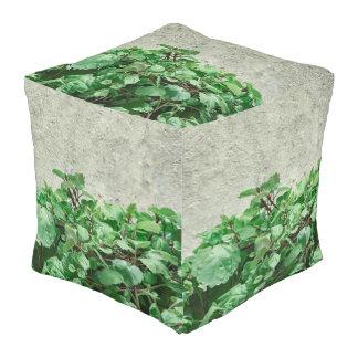 Green Plants Against Concrete Wall Pouf