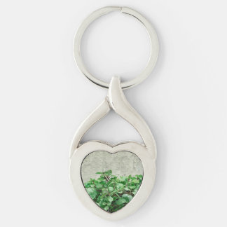 Green Plants Against Concrete Wall Silver-Colored Twisted Heart Keychain