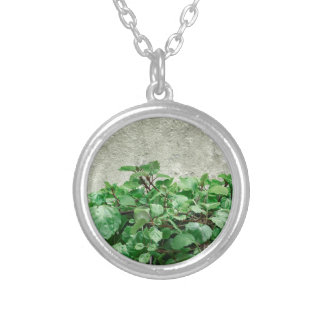 Green Plants Against Concrete Wall Silver Plated Necklace