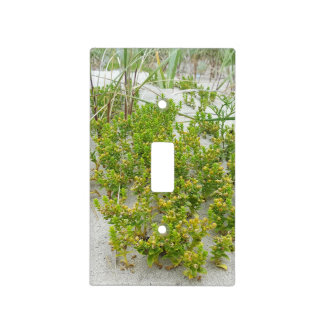Green plants at the beach light switch cover