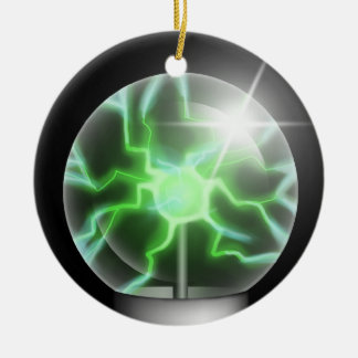 Green Plasma Ball Ceramic Tree Ornament
