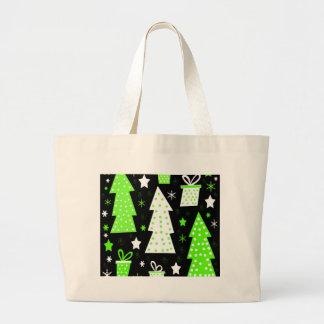 Green playful Xmas Large Tote Bag