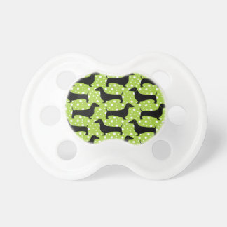 Green Polka Dachshunds Baby Pacifiers