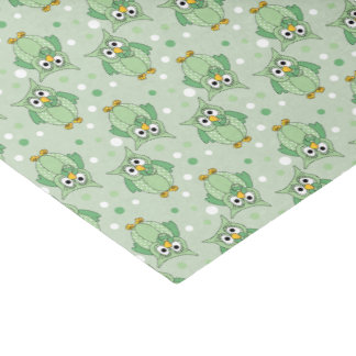 Green Polka Dot Baby Owl Pattern Tissue Paper