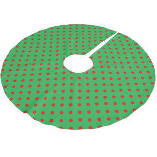 Green Polka Dot Brushed Polyester Tree Skirt