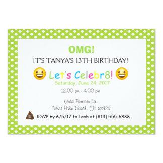 green polka dot emoji birthday invite