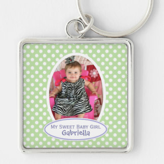 Green Polka Dot Framed Keychain: Add Your Picture Silver-Colored Square Keychain