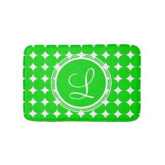 Green Polka Dot Monogram Bath Mat