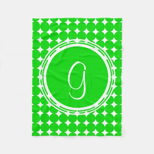 Green Polka Dot Monogram Fleece Blanket