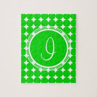 Green Polka Dot Monogram Jigsaw Puzzle
