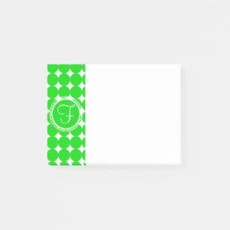 Green Polka Dot Monogram Post-it Notes