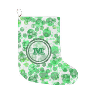 Green Polka Dot Monongram Large Christmas Stocking
