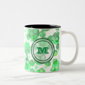 Green Polka Dot Monongram Two-Tone Coffee Mug