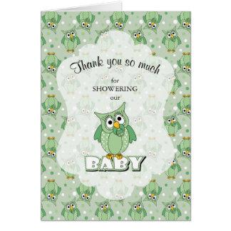 Green Polka Dot Owl Baby Shower Theme Card