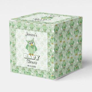 Green Polka Dot Owl Baby Shower Theme Favor Box