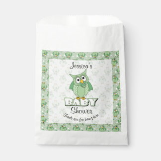 Green Polka Dot Owl Baby Shower Theme Favour Bag